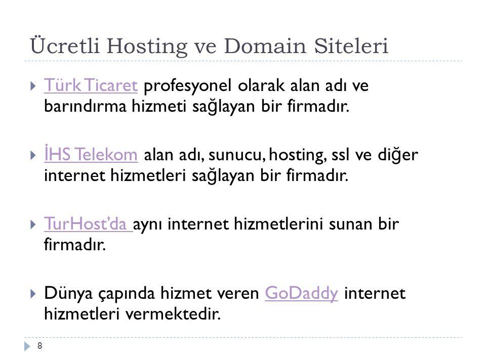 Ücretli Hosting ve Domain Siteleri  Türk Ticaret profesyonel olarak alan adı ve barındırma hizmeti sa ğ layan bir firmadır. Türk Ticaret  İ HS Telek