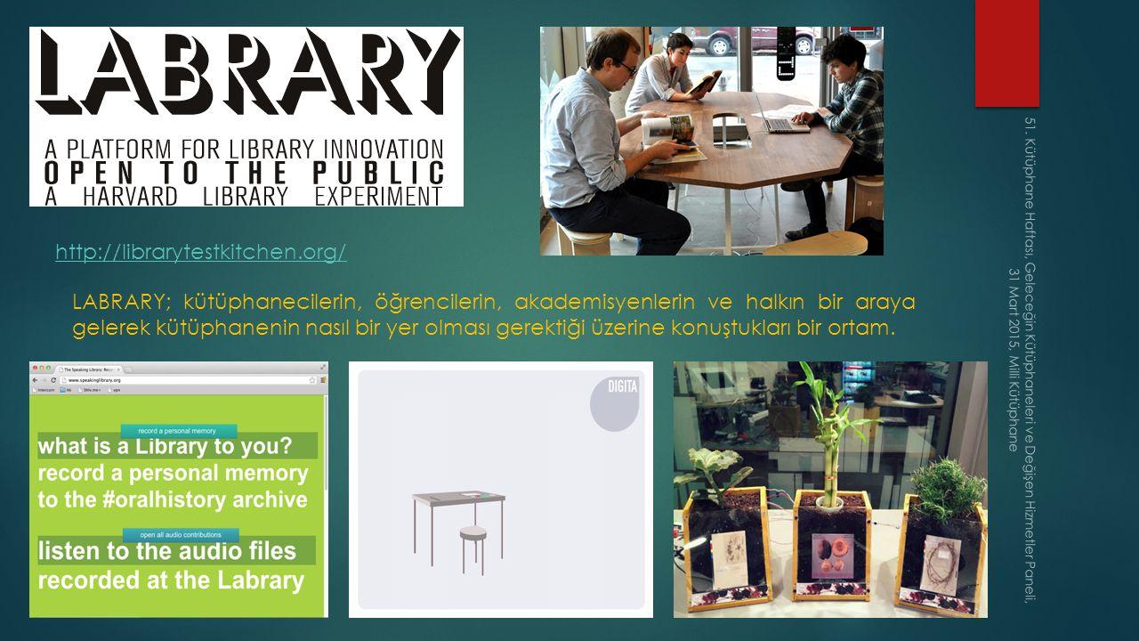 Geleceğin Kütüphaneleri Farklı senaryolar… Rekabet gücü yüksek, kullanıcılarının gereksinimlerine göre hizmetlerini şekillendiren dinamik kütüphaneler… En son teknolojiyi kullanıcılarına sunan, yenilikçi kütüphaneler… Çekim (cazibe) merkezi kütüphaneler… Özellikle ülkemizde gelişmekte olan AVM kültürüne paralel olarak her AVM'de bir kütüphane açılması… Yerel yönetimlerden tam destek sağlanarak verilen hizmetlerin çeşitlendiği çağdaş kütüphaneler… Daha etkin ve işlevsel Z Kütüphaneler… Hizmet verdiği kullanıcı profillerine uygun akademik kütüphaneler… Restoranlara verilen Michelin yıldızları gibi kütüphanelerde de buna benzer uygulamalar… 51.