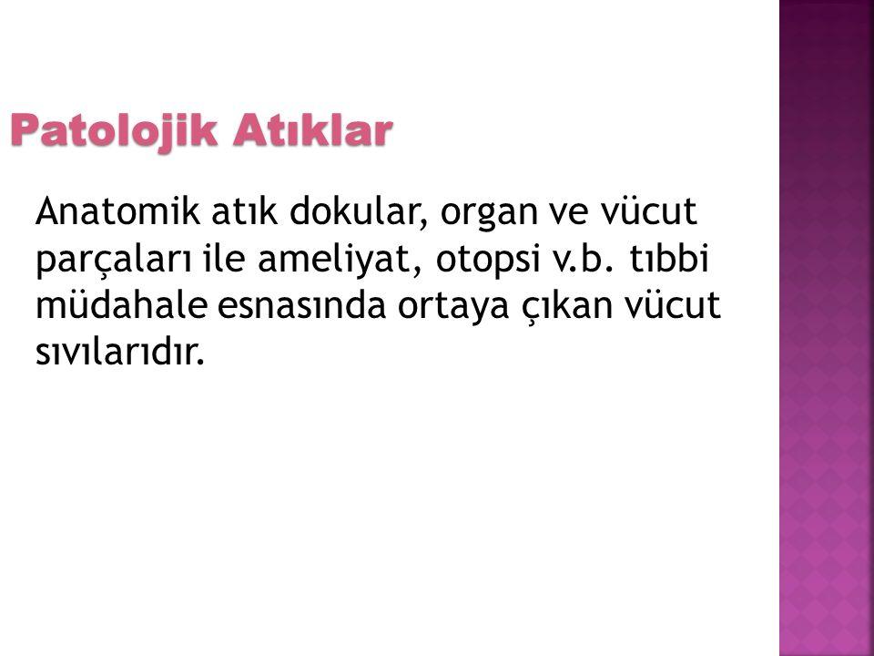 Anatomik atık dokular, organ ve vücut parçaları ile ameliyat, otopsi v.b.