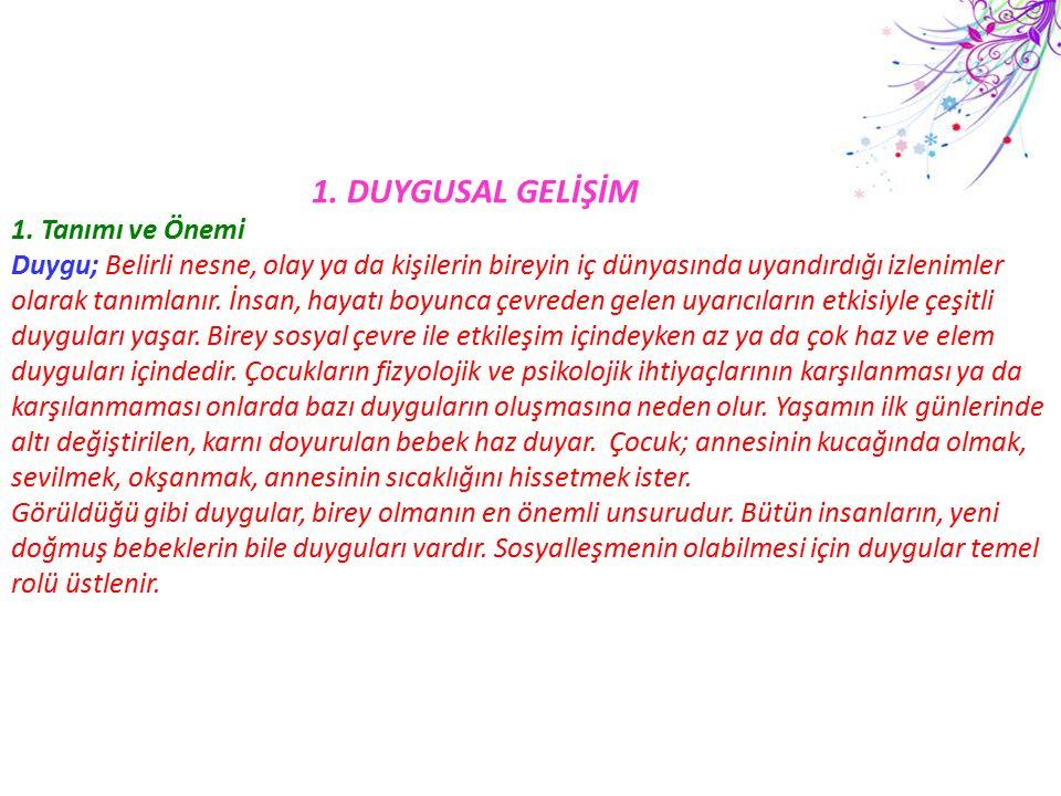 2.Duygusal Gelişimle İlgili Kavramlar 1.