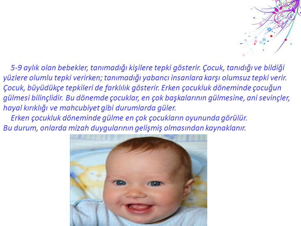 5-9 aylık olan bebekler, tanımadığı kişilere tepki gösterir. Çocuk, tanıdığı ve bildiği yüzlere olumlu tepki verirken; tanımadığı yabancı insanlara ka