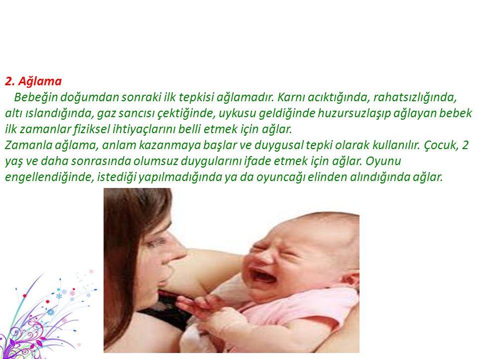2. Ağlama Bebeğin doğumdan sonraki ilk tepkisi ağlamadır. Karnı acıktığında, rahatsızlığında, altı ıslandığında, gaz sancısı çektiğinde, uykusu geldiğ