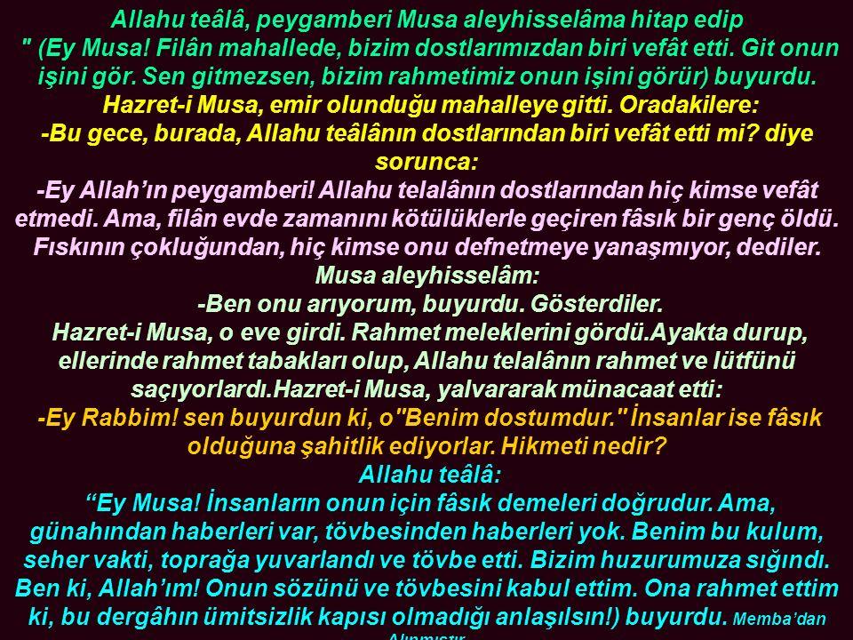 Allahu teâlâ, peygamberi Musa aleyhisselâma hitap edip (Ey Musa.