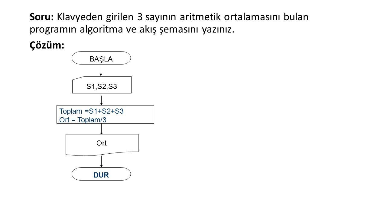 Soru: Klavyeden girilen 3 sayının aritmetik ortalamasını bulan programın algoritma ve akış şemasını yazınız.
