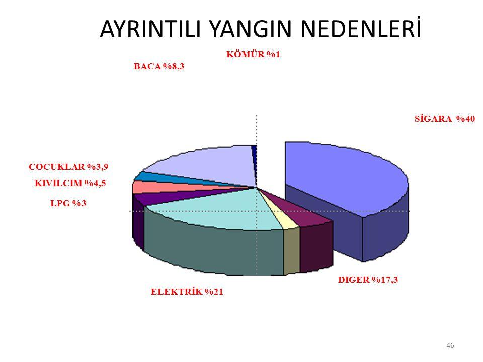 AYRINTILI YANGIN NEDENLERİ 46 ELEKTRİK %21 DİĞER %17,3 BENZİN %0,6 SİGARA %40 KÖMÜR %1 BACA %8,3 LPG %3 COCUKLAR %3,9 KIVILCIM %4,5