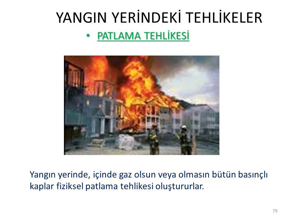 YANGIN YERİNDEKİ TEHLİKELER PATLAMA TEHLİKESİ PATLAMA TEHLİKESİ 79 Yangın yerinde, içinde gaz olsun veya olmasın bütün basınçlı kaplar fiziksel patlama tehlikesi oluştururlar.