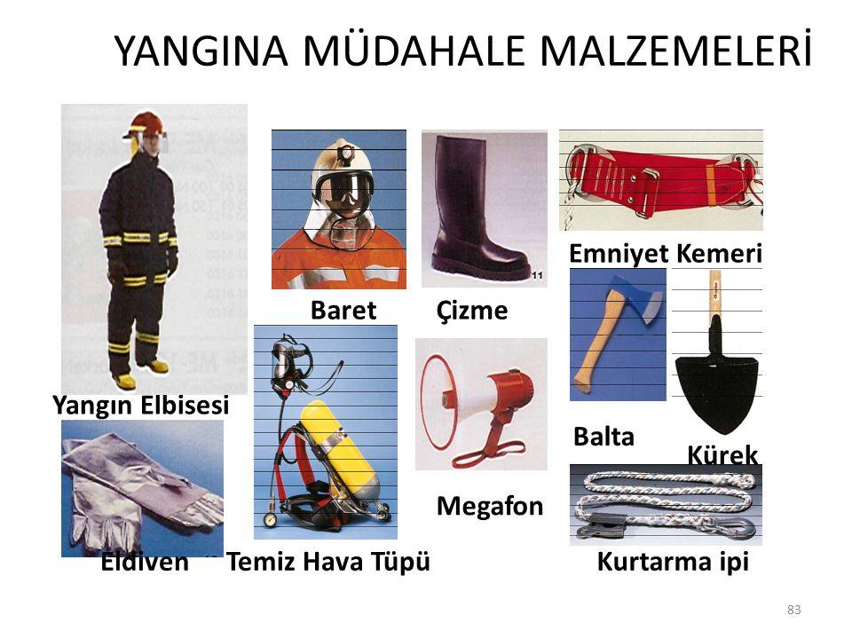 YANGINA MÜDAHALE MALZEMELERİ 83 Yangın Elbisesi Baret Eldiven Çizme Megafon Emniyet Kemeri Balta Kürek Kurtarma ipiTemiz Hava Tüpü