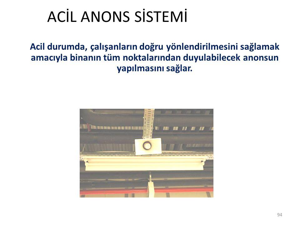 ACİL ANONS SİSTEMİ 94 Acil durumda, çalışanların doğru yönlendirilmesini sağlamak amacıyla binanın tüm noktalarından duyulabilecek anonsun yapılmasını sağlar.