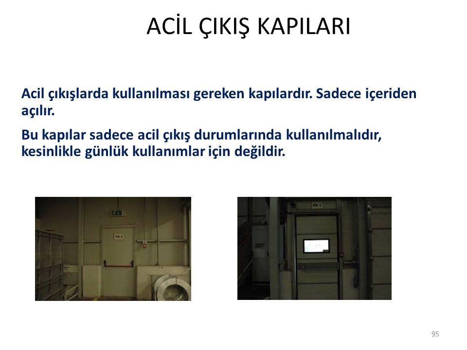 ACİL ÇIKIŞ KAPILARI 95 Acil çıkışlarda kullanılması gereken kapılardır.