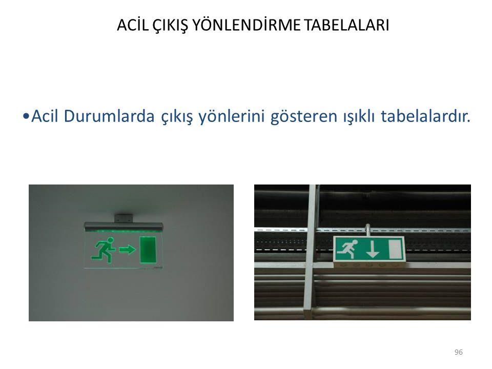 ACİL ÇIKIŞ YÖNLENDİRME TABELALARI 96 Acil Durumlarda çıkış yönlerini gösteren ışıklı tabelalardır.