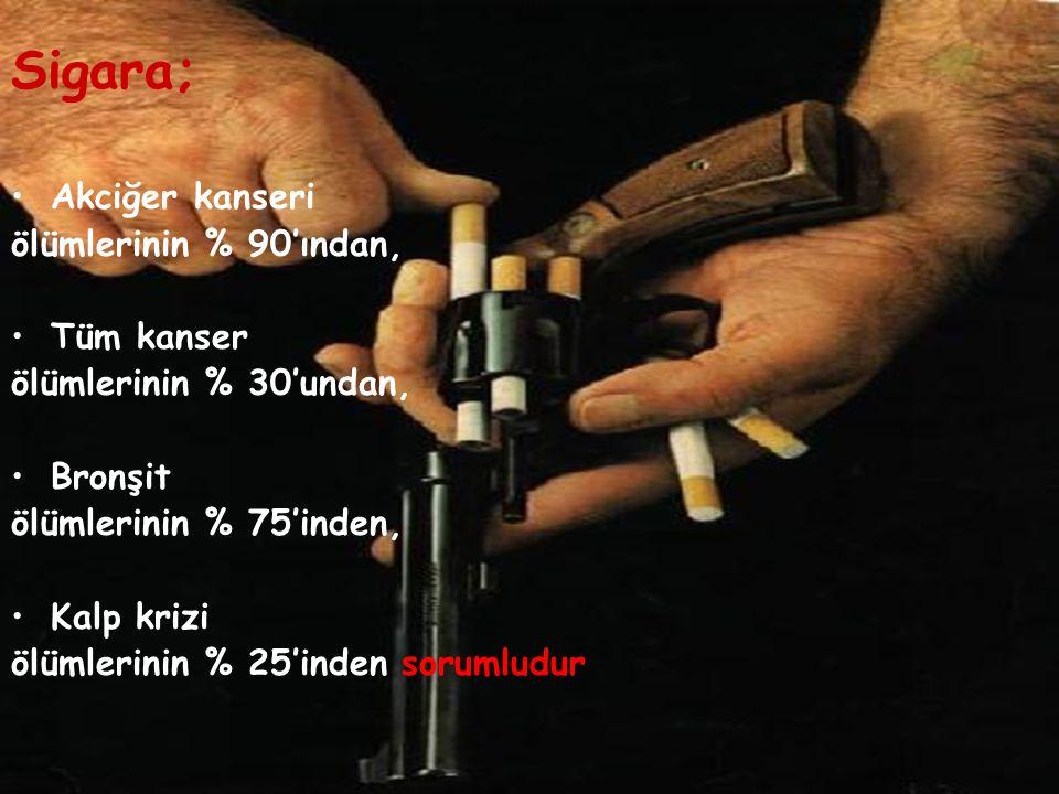Sigara; Akciğer kanseri ölümlerinin % 90'ından, Tüm kanser ölümlerinin % 30'undan, Bronşit ölümlerinin % 75'inden, Kalp krizi ölümlerinin % 25'inden sorumludur