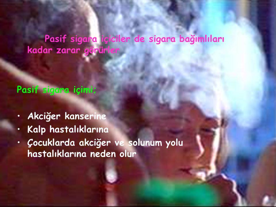 Pasif sigara içiciler de sigara bağımlıları kadar zarar görürler Pasif sigara içimi; Akciğer kanserine Kalp hastalıklarına Çocuklarda akciğer ve solunum yolu hastalıklarına neden olur