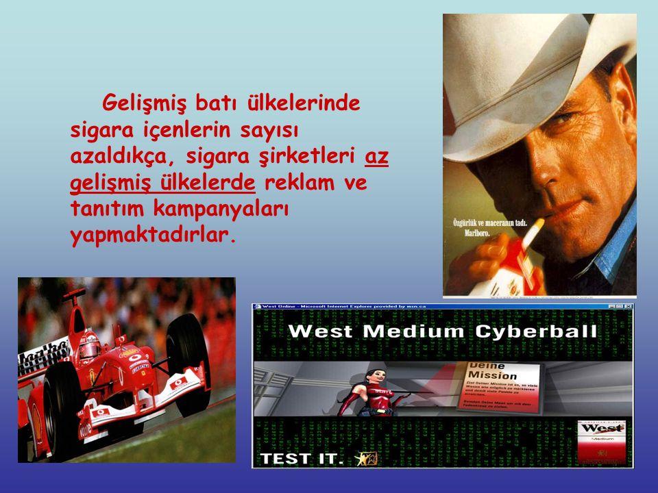 Gelişmiş batı ülkelerinde sigara içenlerin sayısı azaldıkça, sigara şirketleri az gelişmiş ülkelerde reklam ve tanıtım kampanyaları yapmaktadırlar.