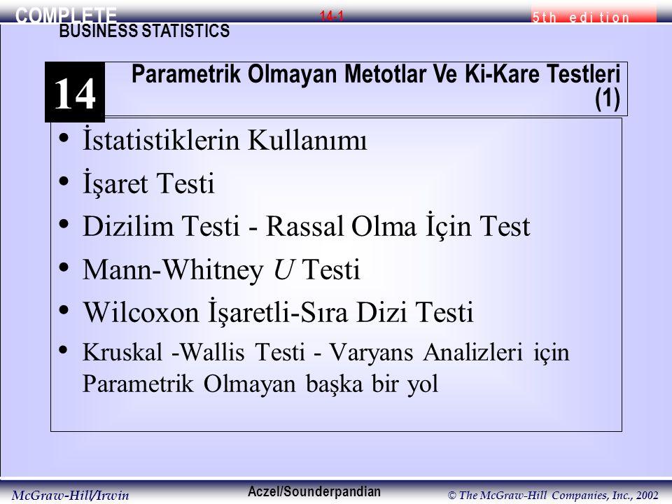COMPLETE 5 t h e d i t i o n BUSINESS STATISTICS Aczel/Sounderpandian McGraw-Hill/Irwin © The McGraw-Hill Companies, Inc., 2002 14-1 İstatistiklerin Kullanımı İşaret Testi Dizilim Testi - Rassal Olma İçin Test Mann-Whitney U Testi Wilcoxon İşaretli-Sıra Dizi Testi Kruskal -Wallis Testi - Varyans Analizleri için Parametrik Olmayan başka bir yol Parametrik Olmayan Metotlar Ve Ki-Kare Testleri (1) 14