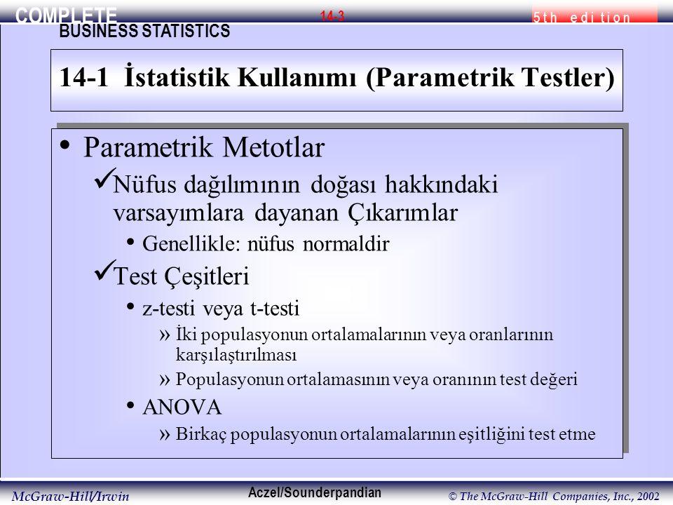COMPLETE 5 t h e d i t i o n BUSINESS STATISTICS Aczel/Sounderpandian McGraw-Hill/Irwin © The McGraw-Hill Companies, Inc., 2002 14-3 Parametrik Metotl