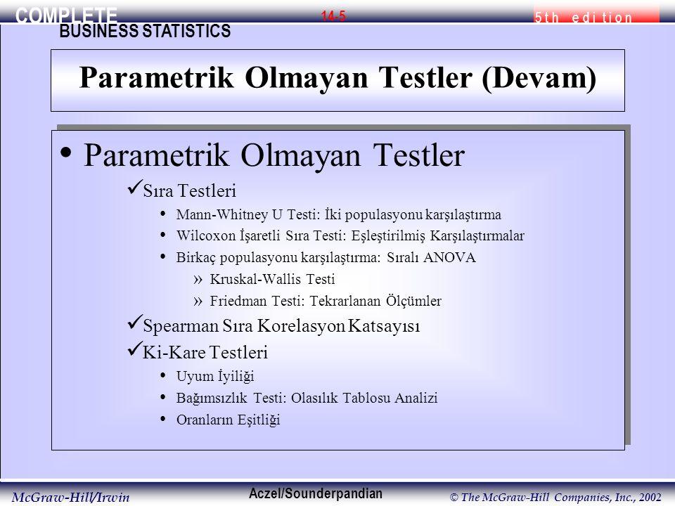 COMPLETE 5 t h e d i t i o n BUSINESS STATISTICS Aczel/Sounderpandian McGraw-Hill/Irwin © The McGraw-Hill Companies, Inc., 2002 14-5 Parametrik Olmaya
