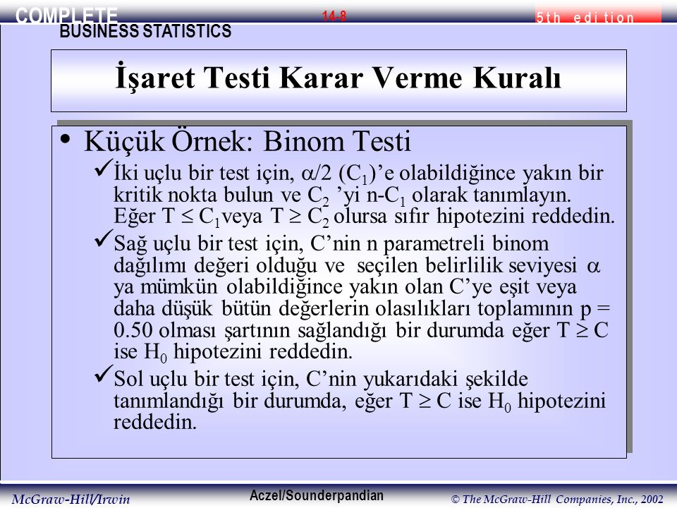COMPLETE 5 t h e d i t i o n BUSINESS STATISTICS Aczel/Sounderpandian McGraw-Hill/Irwin © The McGraw-Hill Companies, Inc., 2002 14-8 Küçük Örnek: Binom Testi İki uçlu bir test için,  /2 (C 1 )'e olabildiğince yakın bir kritik nokta bulun ve C 2 'yi n-C 1 olarak tanımlayın.