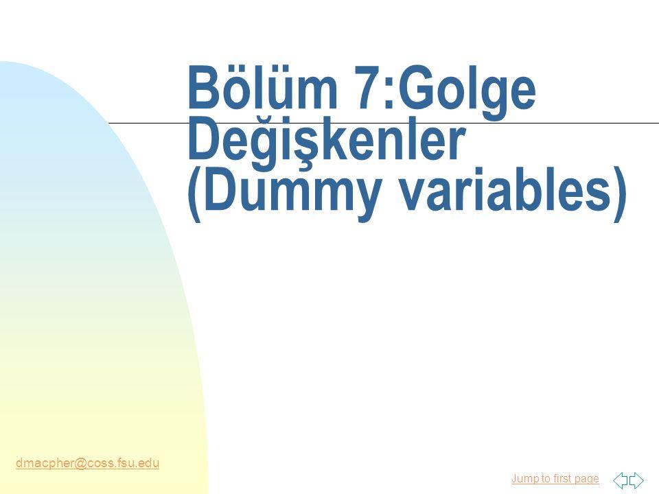Jump to first page dmacpher@coss.fsu.edu Eğitim harcamaları n Lise değerinden daha az için harcama değeri anlamı: u E(Y|Dhigh = 0, Dcollege = 0, X) = b 1 + b 4 X n Liseden mezun olma durumu için: u E(Y|Dhigh = 1, Dcollege = 0, X) = b 1 + b 2 + b 4 X n Kolejden mezun olma durumları içim: u E(Y|Dhigh = 0, Dcollege = 1, X) = b 1 + b 3 + b 4 X