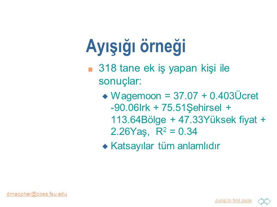 Jump to first page dmacpher@coss.fsu.edu Ayışığı örneği n 318 tane ek iş yapan kişi ile sonuçlar: u Wagemoon = 37.07 + 0.403Ücret -90.06Irk + 75.51Şehirsel + 113.64Bölge + 47.33Yüksek fiyat + 2.26Yaş, R 2 = 0.34 u Katsayılar tüm anlamlıdır