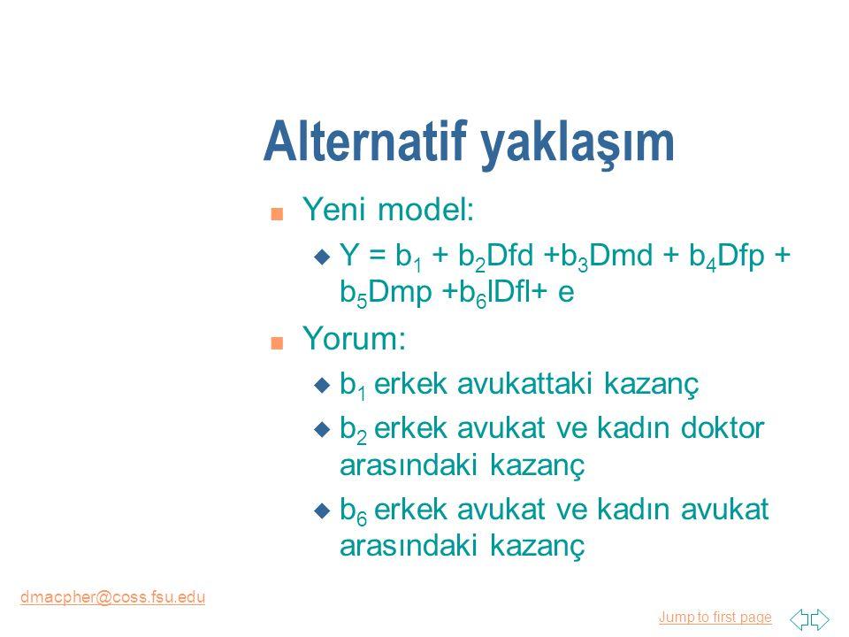 Jump to first page dmacpher@coss.fsu.edu Alternatif yaklaşım n Yeni model: u Y = b 1 + b 2 Dfd +b 3 Dmd + b 4 Dfp + b 5 Dmp +b 6 lDfl+ e n Yorum: u b