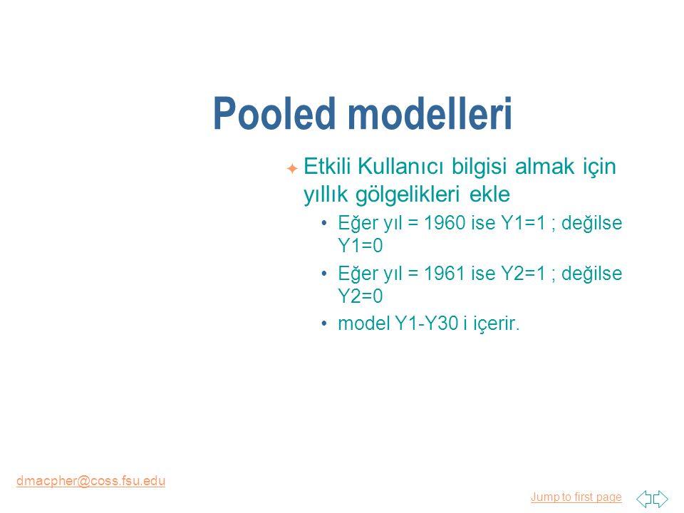 Jump to first page dmacpher@coss.fsu.edu Pooled modelleri F Etkili Kullanıcı bilgisi almak için yıllık gölgelikleri ekle Eğer yıl = 1960 ise Y1=1 ; değilse Y1=0 Eğer yıl = 1961 ise Y2=1 ; değilse Y2=0 model Y1-Y30 i içerir.