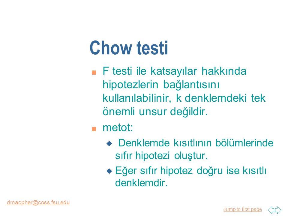 Jump to first page dmacpher@coss.fsu.edu Chow testi n F testi ile katsayılar hakkında hipotezlerin bağlantısını kullanılabilinir, k denklemdeki tek ön