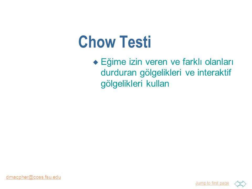 Jump to first page dmacpher@coss.fsu.edu Chow Testi u Eğime izin veren ve farklı olanları durduran gölgelikleri ve interaktif gölgelikleri kullan
