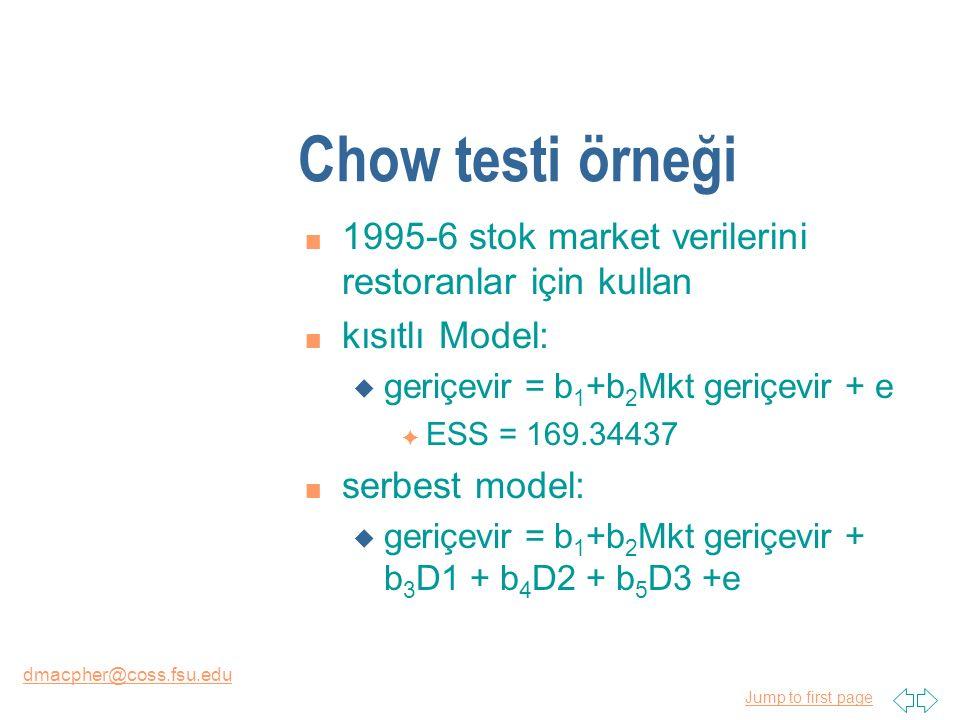 Jump to first page dmacpher@coss.fsu.edu Chow testi örneği n 1995-6 stok market verilerini restoranlar için kullan n kısıtlı Model: u geriçevir = b 1 +b 2 Mkt geriçevir + e F ESS = 169.34437 n serbest model: u geriçevir = b 1 +b 2 Mkt geriçevir + b 3 D1 + b 4 D2 + b 5 D3 +e