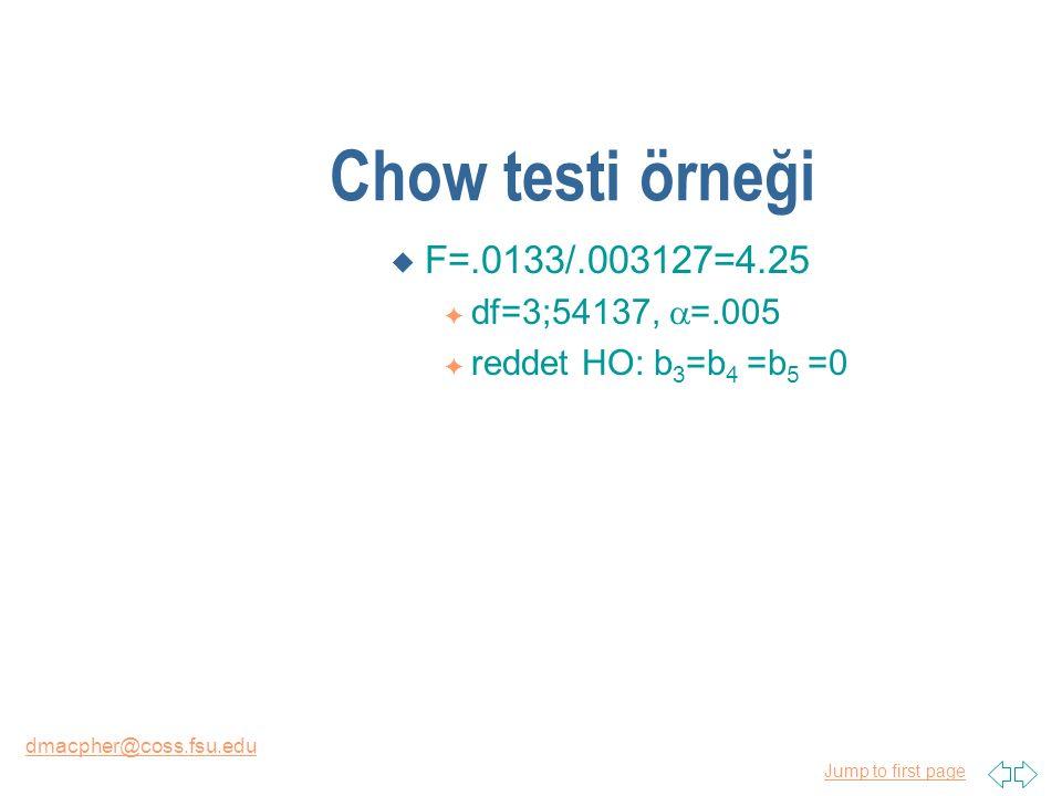 Jump to first page dmacpher@coss.fsu.edu Chow testi örneği u F=.0133/.003127=4.25 F df=3;54137,  =.005 F reddet HO: b 3 =b 4 =b 5 =0