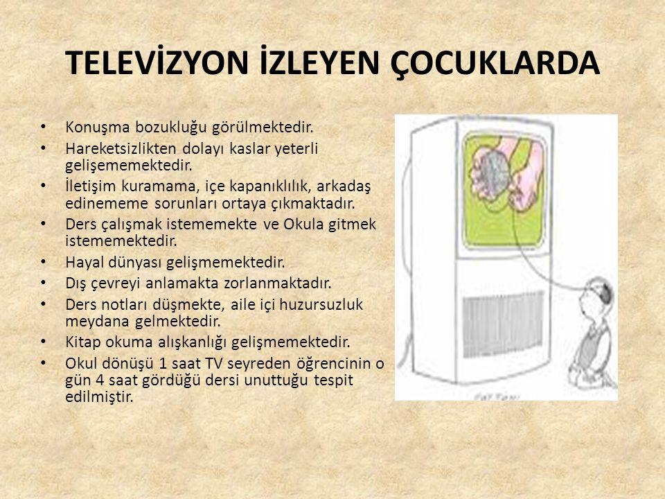 TELEVİZYON İZLEYEN ÇOCUKLARDA Konuşma bozukluğu görülmektedir.