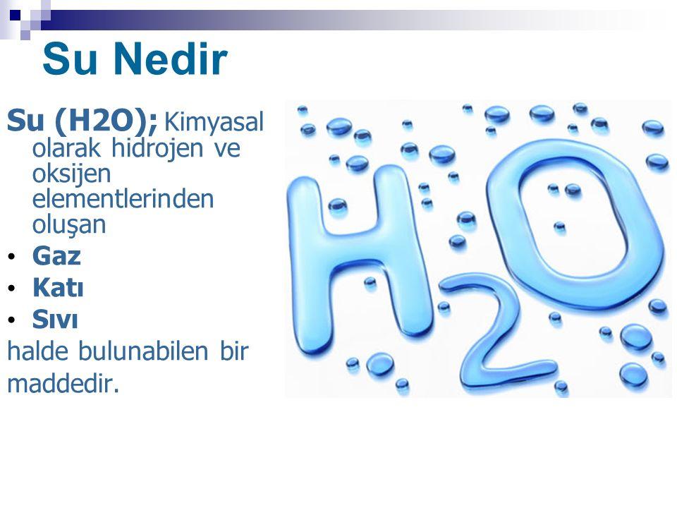 Su Nedir Su (H2O); Kimyasal olarak hidrojen ve oksijen elementlerinden oluşan Gaz Katı Sıvı halde bulunabilen bir maddedir.