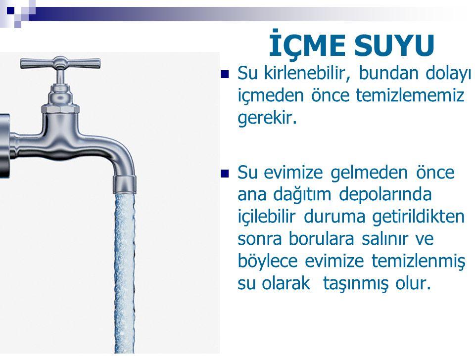 İÇME SUYU Su kirlenebilir, bundan dolayı içmeden önce temizlememiz gerekir. Su evimize gelmeden önce ana dağıtım depolarında içilebilir duruma getiril