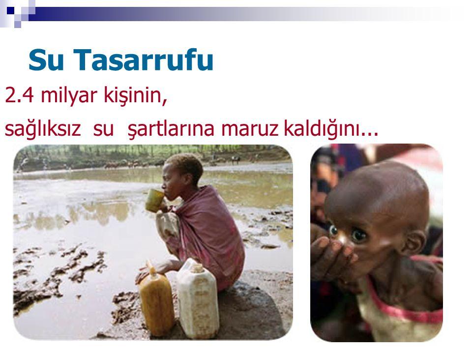Su Tasarrufu 2.4 milyar kişinin, sağlıksız su şartlarına maruz kaldığını...