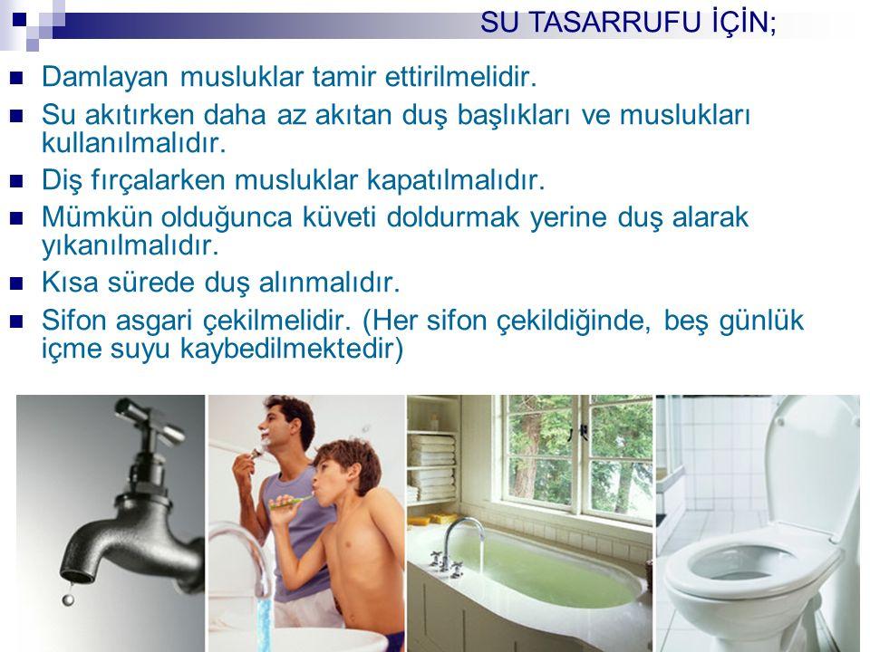 Damlayan musluklar tamir ettirilmelidir. Su akıtırken daha az akıtan duş başlıkları ve muslukları kullanılmalıdır. Diş fırçalarken musluklar kapatılma