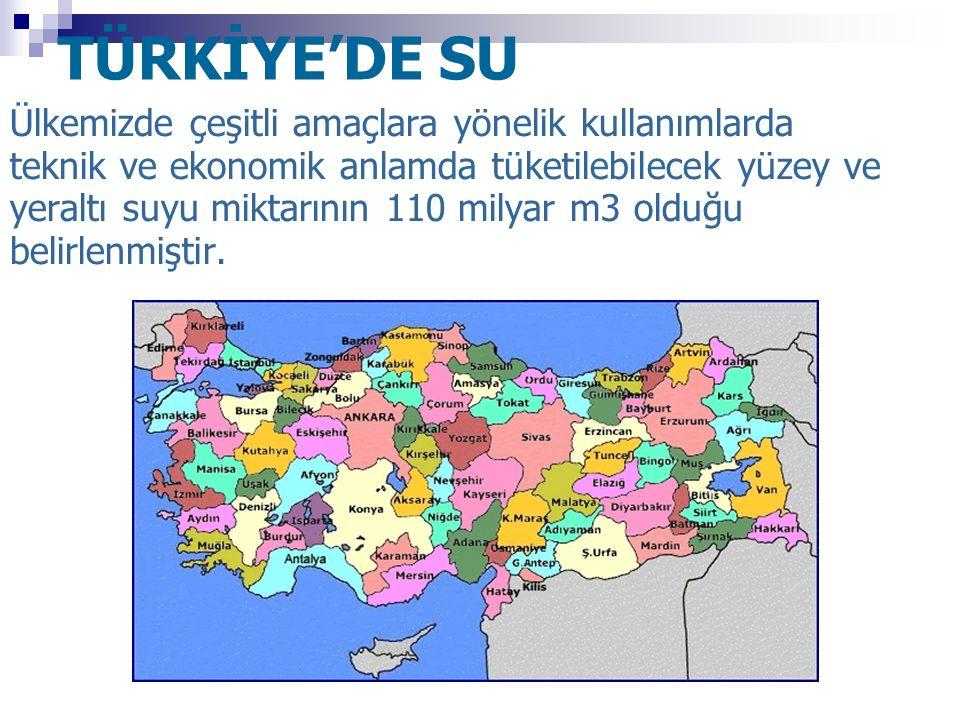 TÜRKİYE'DE SU Ülkemizde çeşitli amaçlara yönelik kullanımlarda teknik ve ekonomik anlamda tüketilebilecek yüzey ve yeraltı suyu miktarının 110 milyar