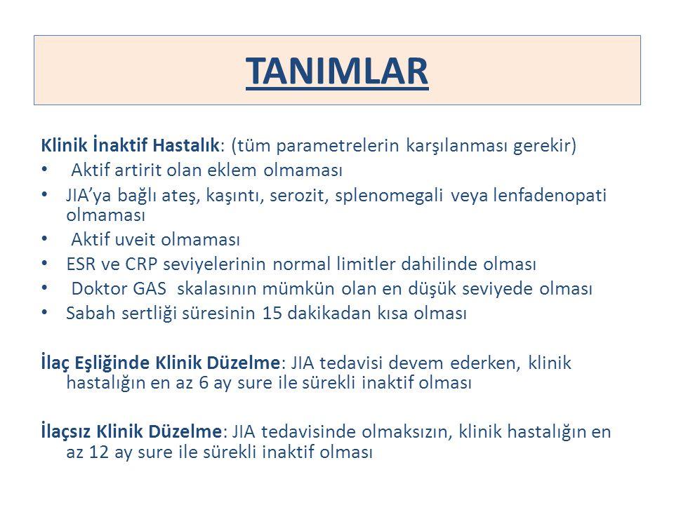 TANIMLAR Klinik İnaktif Hastalık: (tüm parametrelerin karşılanması gerekir) Aktif artirit olan eklem olmaması JIA'ya bağlı ateş, kaşıntı, serozit, spl