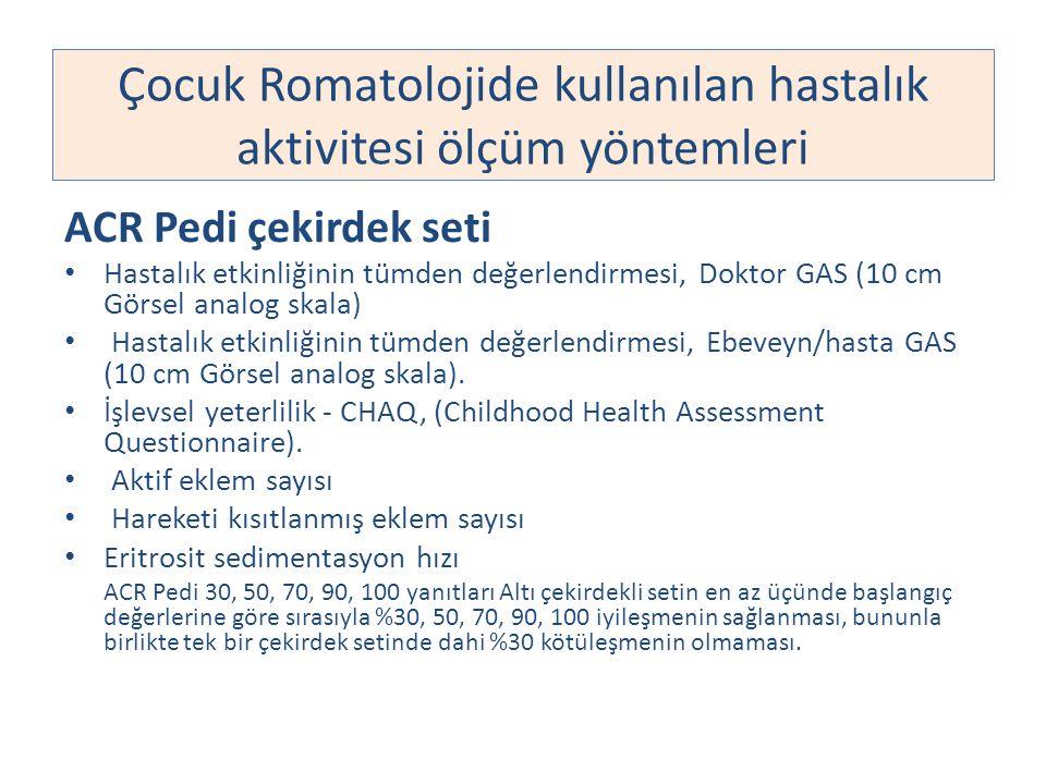 Çocuk Romatolojide kullanılan hastalık aktivitesi ölçüm yöntemleri ACR Pedi çekirdek seti Hastalık etkinliğinin tümden değerlendirmesi, Doktor GAS (10