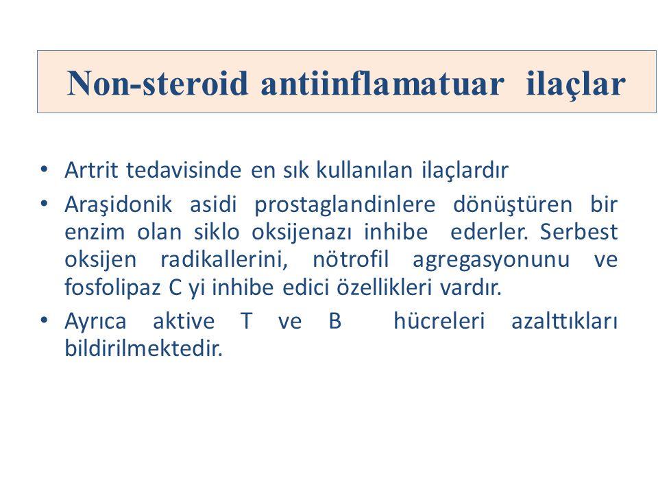 Non-steroid antiinflamatuar ilaçlar Artrit tedavisinde en sık kullanılan ilaçlardır Araşidonik asidi prostaglandinlere dönüştüren bir enzim olan siklo