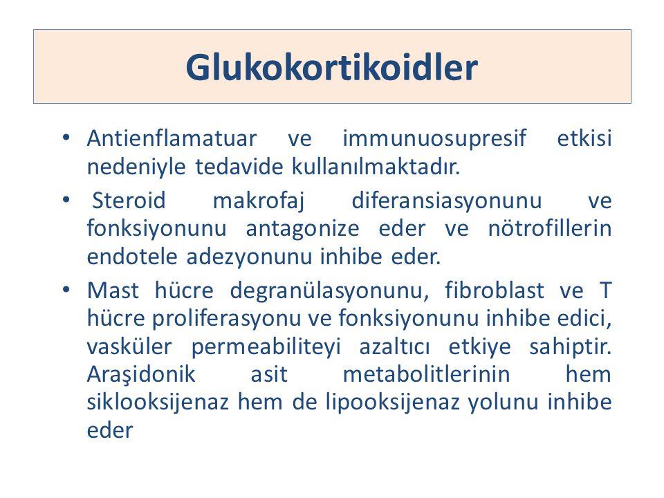 Glukokortikoidler Antienflamatuar ve immunuosupresif etkisi nedeniyle tedavide kullanılmaktadır. Steroid makrofaj diferansiasyonunu ve fonksiyonunu an