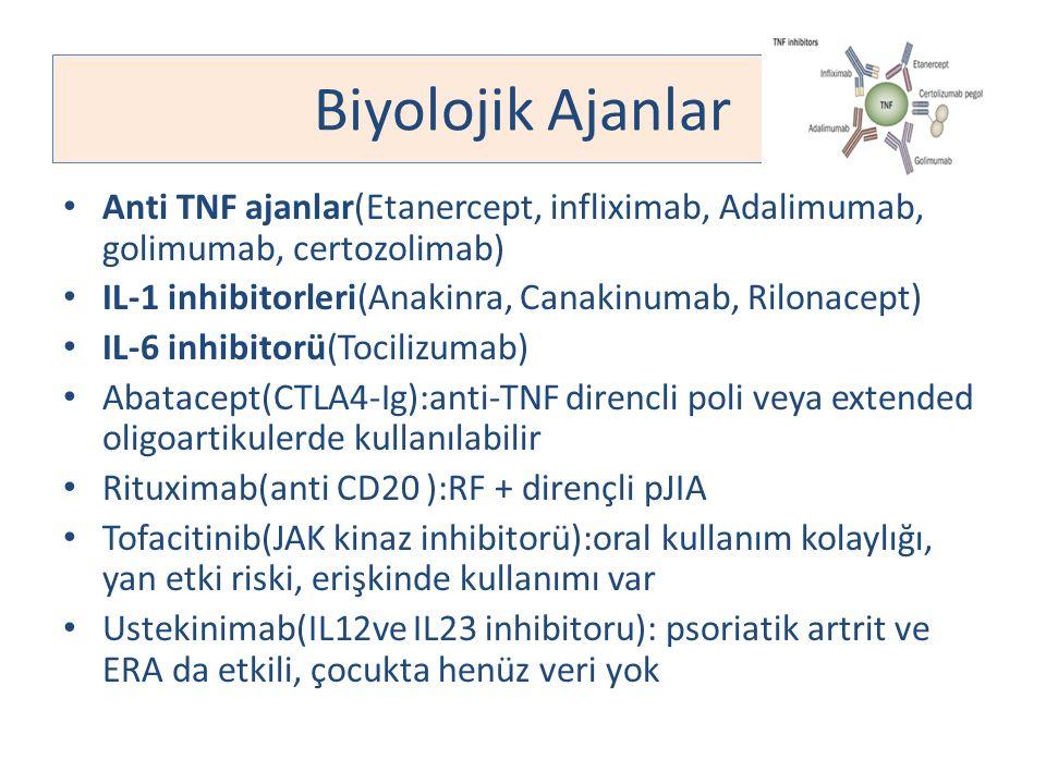 Biyolojik Ajanlar Anti TNF ajanlar(Etanercept, infliximab, Adalimumab, golimumab, certozolimab) IL-1 inhibitorleri(Anakinra, Canakinumab, Rilonacept)
