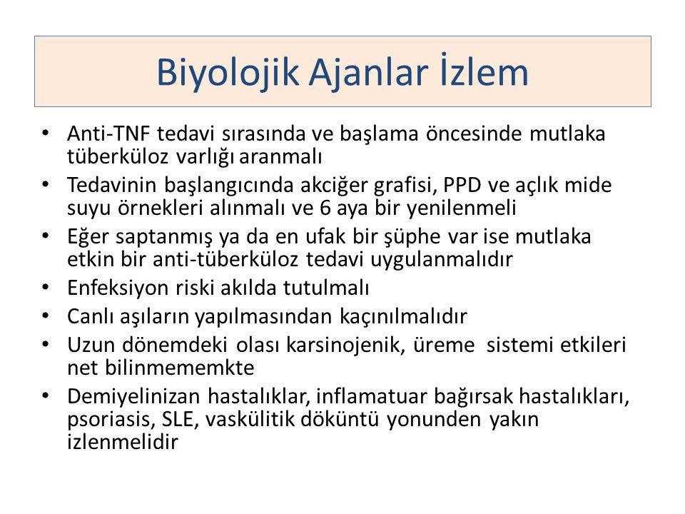 Anti-TNF tedavi sırasında ve başlama öncesinde mutlaka tüberküloz varlığı aranmalı Tedavinin başlangıcında akciğer grafisi, PPD ve açlık mide suyu örn