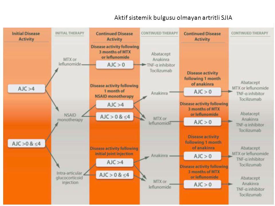 Aktif sistemik bulgusu olmayan artritli SJIA