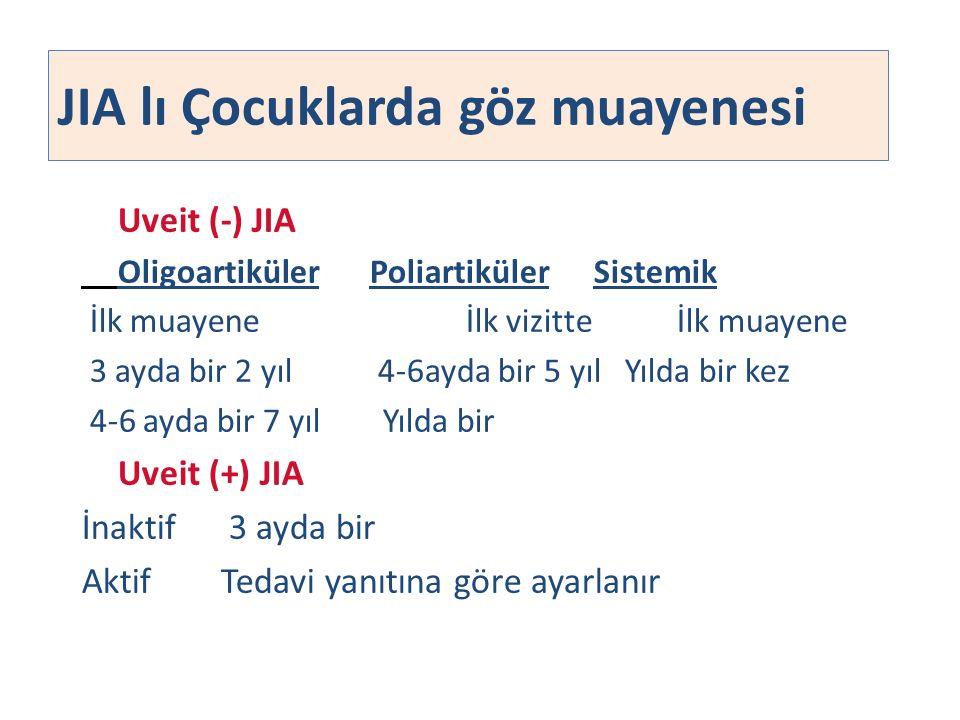 JIA lı Çocuklarda göz muayenesi Uveit (-) JIA Oligoartiküler Poliartiküler Sistemik İlk muayene İlk vizitte İlk muayene 3 ayda bir 2 yıl 4-6ayda bir 5