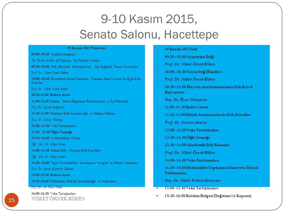 9-10 Kasım 2015, Senato Salonu, Hacettepe 09 Kasım 2015 Pazartesi 09.00–09.30 Açılı ş Konu ş ması Tıp Tarihi ve Etik AD Ba ş kanı- Tıp Fakültesi Dekanı 09.30–10.00 Etik, Biyoetik, Biyoteknoloji - Tıp Eti ğ inde Temel Kavramlar Prof.