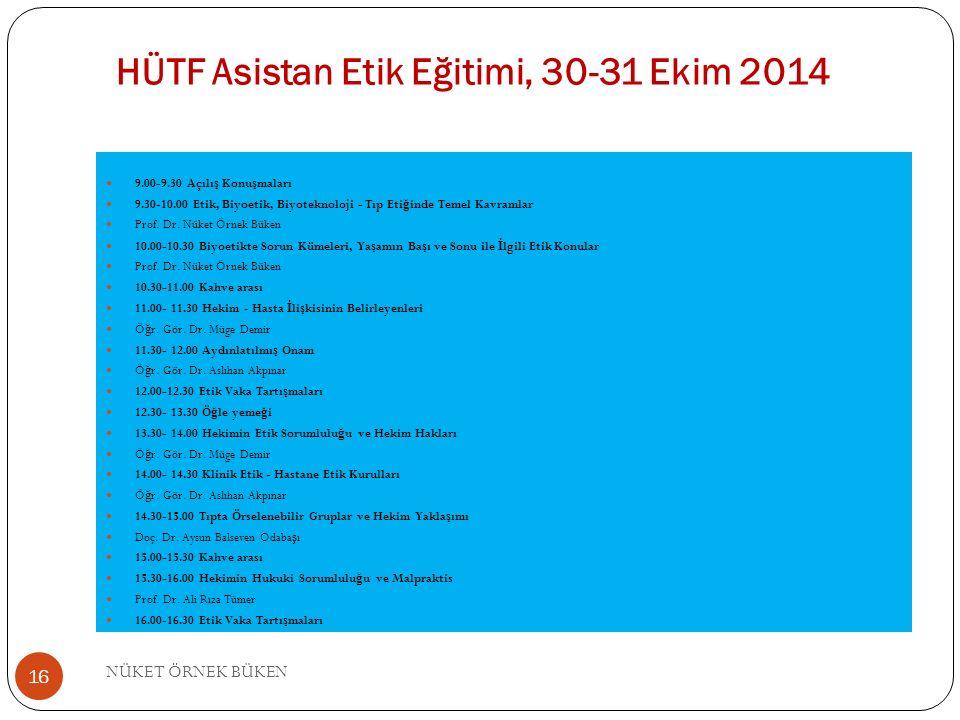 HÜTF Asistan Etik Eğitimi, 30-31 Ekim 2014 9.00-9.30 Açılı ş Konu ş maları 9.30-10.00 Etik, Biyoetik, Biyoteknoloji - Tıp Eti ğ inde Temel Kavramlar Prof.