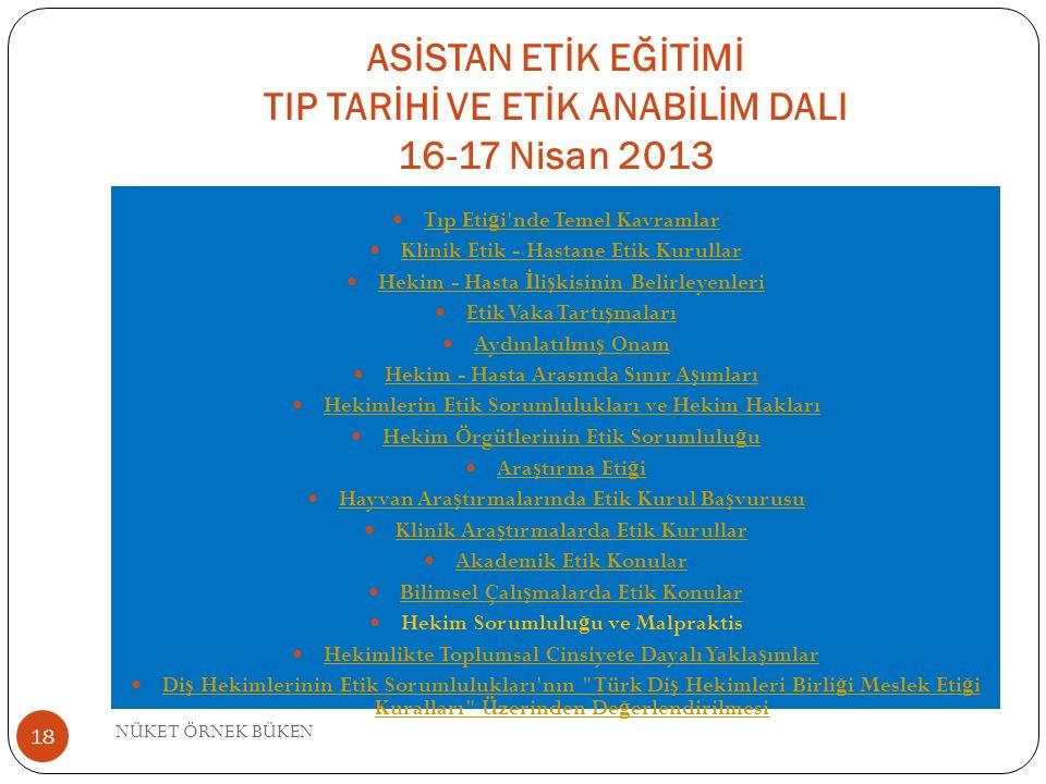 ASİSTAN ETİK EĞİTİMİ TIP TARİHİ VE ETİK ANABİLİM DALI 16-17 Nisan 2013 Tıp Eti ğ i nde Temel Kavramlar Tıp Eti ğ i nde Temel Kavramlar Klinik Etik - Hastane Etik Kurullar Hekim - Hasta İ li ş kisinin Belirleyenleri Hekim - Hasta İ li ş kisinin Belirleyenleri Etik Vaka Tartı ş maları Etik Vaka Tartı ş maları Aydınlatılmı ş Onam Aydınlatılmı ş Onam Hekim - Hasta Arasında Sınır A ş ımları Hekim - Hasta Arasında Sınır A ş ımları Hekimlerin Etik Sorumlulukları ve Hekim Hakları Hekim Örgütlerinin Etik Sorumlulu ğ u Hekim Örgütlerinin Etik Sorumlulu ğ u Ara ş tırma Eti ğ i Ara ş tırma Eti ğ i Hayvan Ara ş tırmalarında Etik Kurul Ba ş vurusu Hayvan Ara ş tırmalarında Etik Kurul Ba ş vurusu Klinik Ara ş tırmalarda Etik Kurullar Klinik Ara ş tırmalarda Etik Kurullar Akademik Etik Konular Bilimsel Çalı ş malarda Etik Konular Bilimsel Çalı ş malarda Etik Konular Hekim Sorumlulu ğ u ve Malpraktis Hekimlikte Toplumsal Cinsiyete Dayalı Yakla ş ımlar Hekimlikte Toplumsal Cinsiyete Dayalı Yakla ş ımlar Di ş Hekimlerinin Etik Sorumlulukları nın Türk Di ş Hekimleri Birli ğ i Meslek Eti ğ i Kuralları Üzerinden De ğ erlendirilmesi Di ş Hekimlerinin Etik Sorumlulukları nın Türk Di ş Hekimleri Birli ğ i Meslek Eti ğ i Kuralları Üzerinden De ğ erlendirilmesi NÜKET ÖRNEK BÜKEN 18
