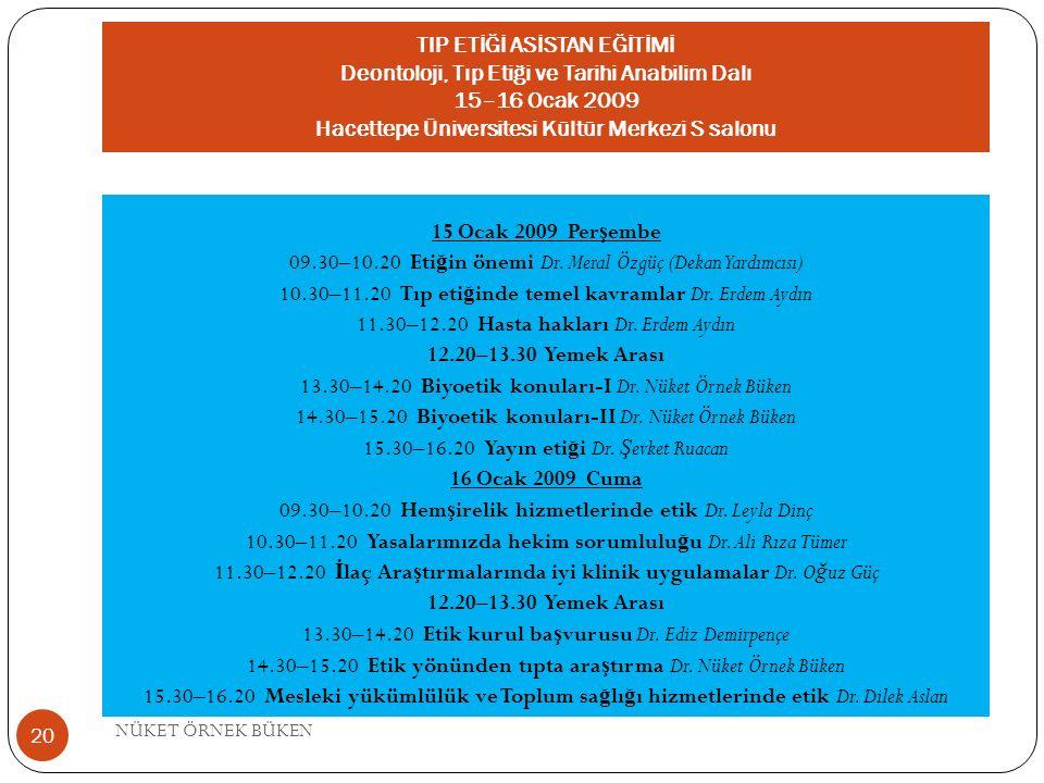 TIP ETİĞİ ASİSTAN EĞİTİMİ Deontoloji, Tıp Etiği ve Tarihi Anabilim Dalı 15–16 Ocak 2009 Hacettepe Üniversitesi Kültür Merkezi S salonu 15 Ocak 2009 Pe