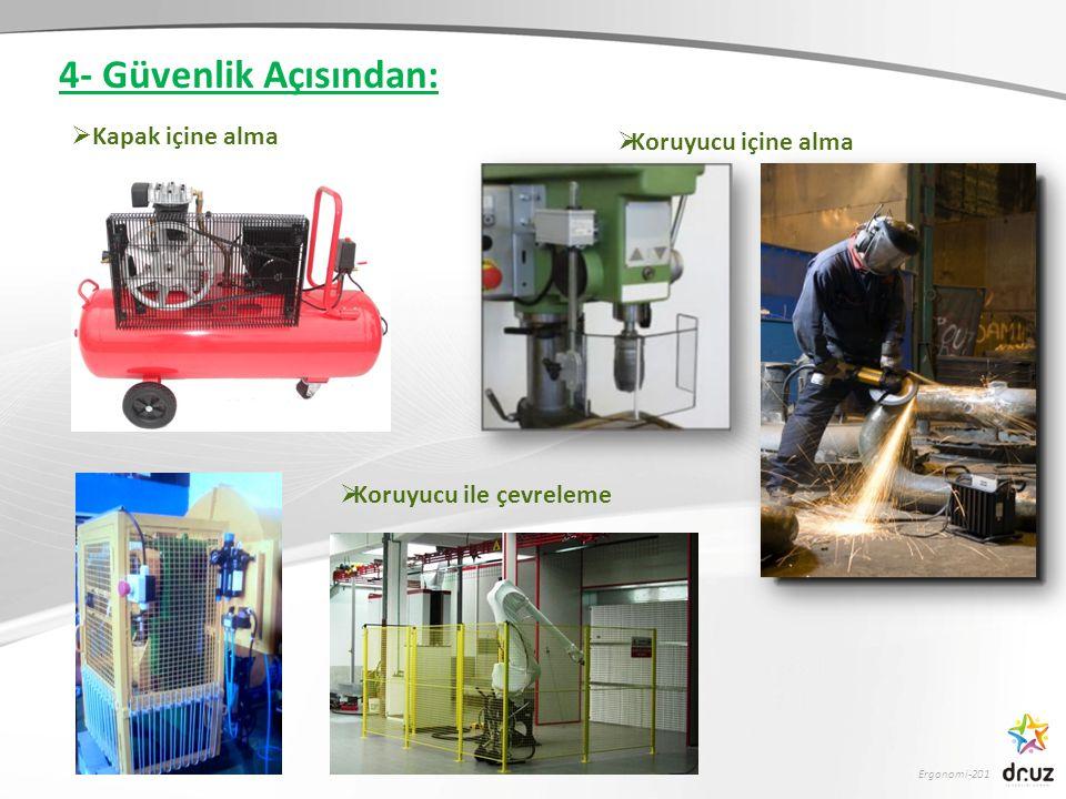 Ergonomi-201  Kapak içine alma  Koruyucu içine alma  Koruyucu ile çevreleme 4- Güvenlik Açısından: