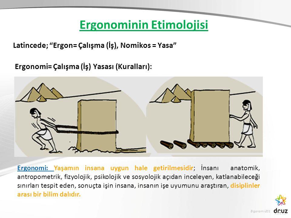 Ergonomi-201 Ergonominin Etimolojisi Latincede; Ergon= Çalışma (İş), Nomikos = Yasa Ergonomi= Çalışma (İş) Yasası (Kuralları): Ergonomi: Yaşamın insana uygun hale getirilmesidir; İnsanı anatomik, antropometrik, fizyolojik, psikolojik ve sosyolojik açıdan inceleyen, katlanabileceği sınırları tespit eden, sonuçta işin insana, insanın işe uyumunu araştıran, disiplinler arası bir bilim dalıdır.