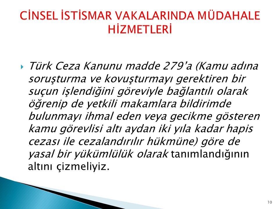  Türk Ceza Kanunu madde 279'a (Kamu adına soruşturma ve kovuşturmayı gerektiren bir suçun işlendiğini göreviyle bağlantılı olarak öğrenip de yetkili